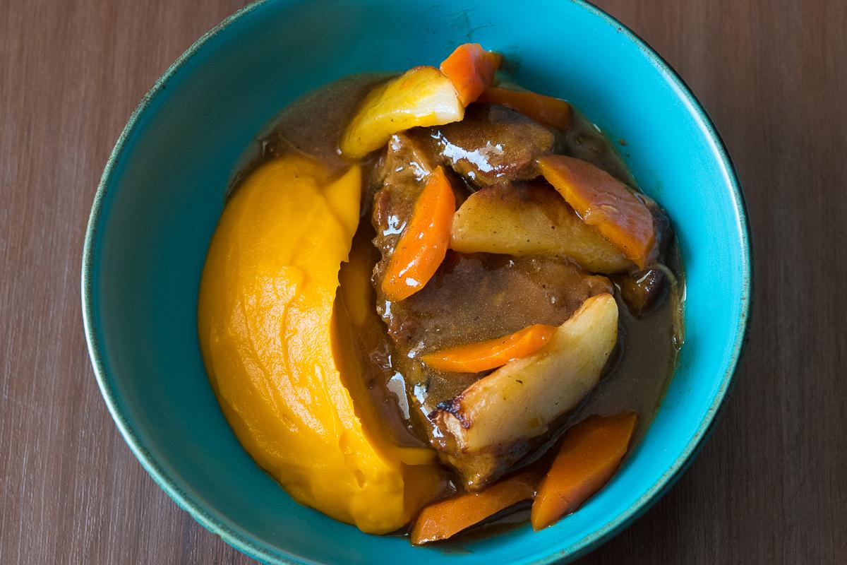 Braised Pork sweet potato apple