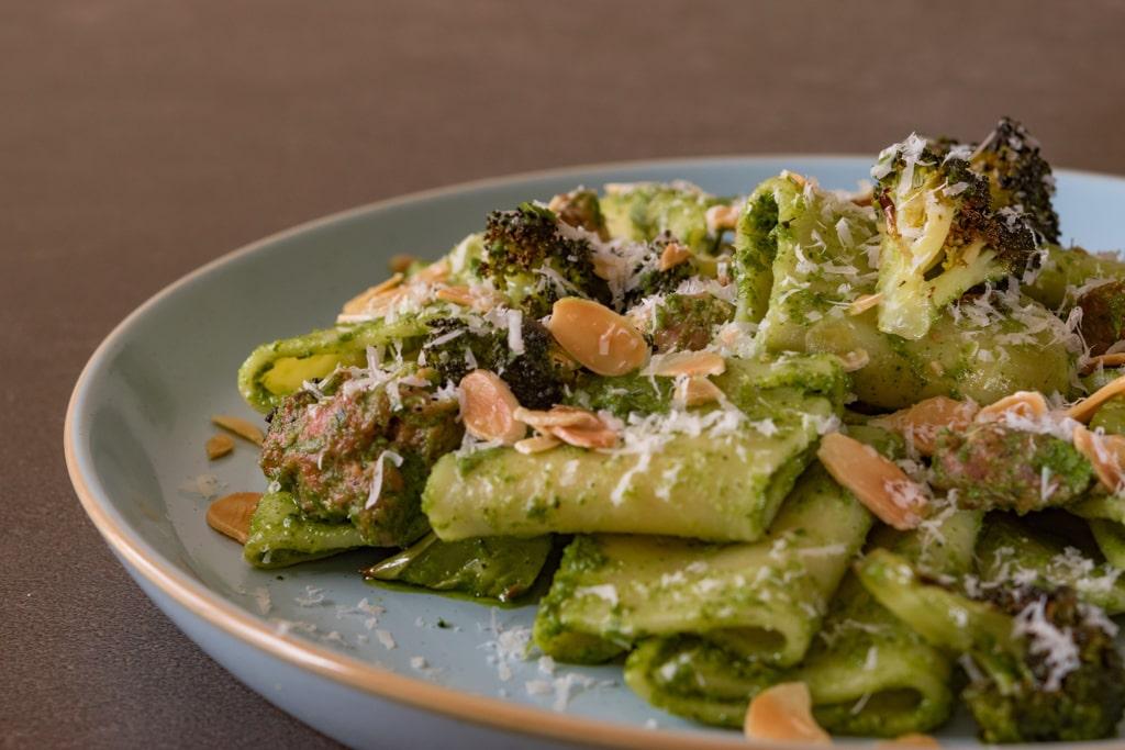 Pesto paccheri broccoli sausage
