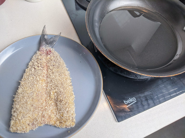 Breaded fish to fry