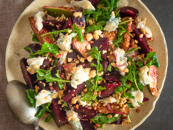 Beet, fig and gorgonzola salad`