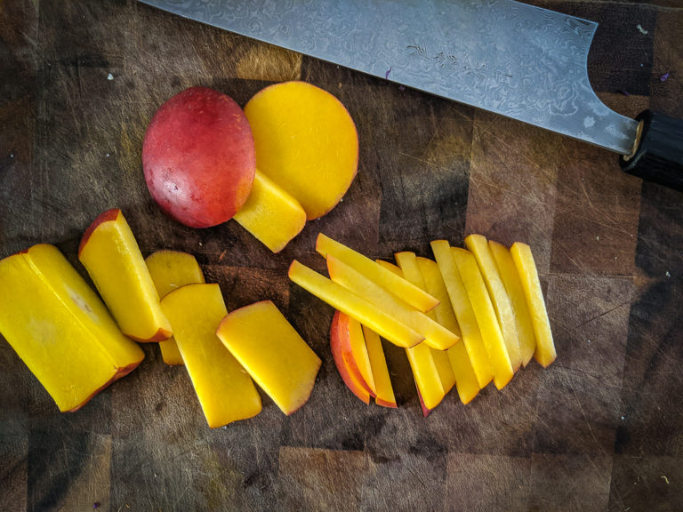 nectarines cut into julienne