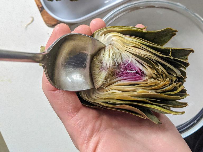 Removing the choke of a globe artichoke