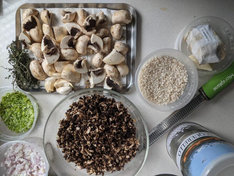 Mushroom risotto mise en place