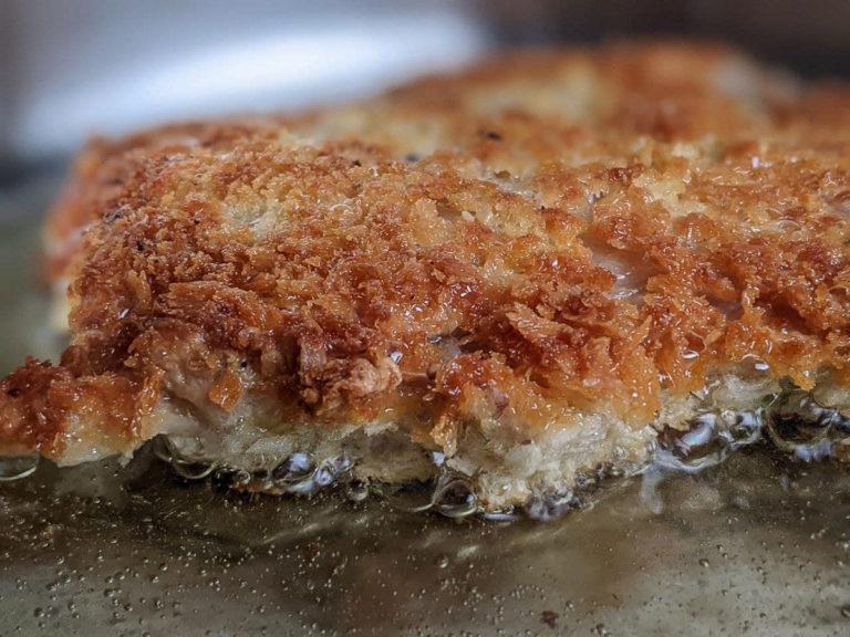Panko breaded chicken frying