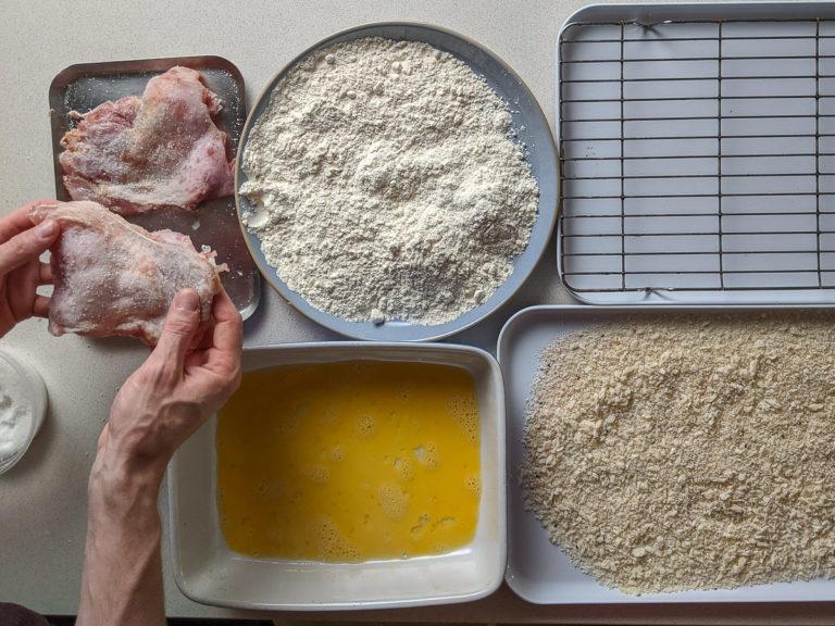Breading chicken for frying